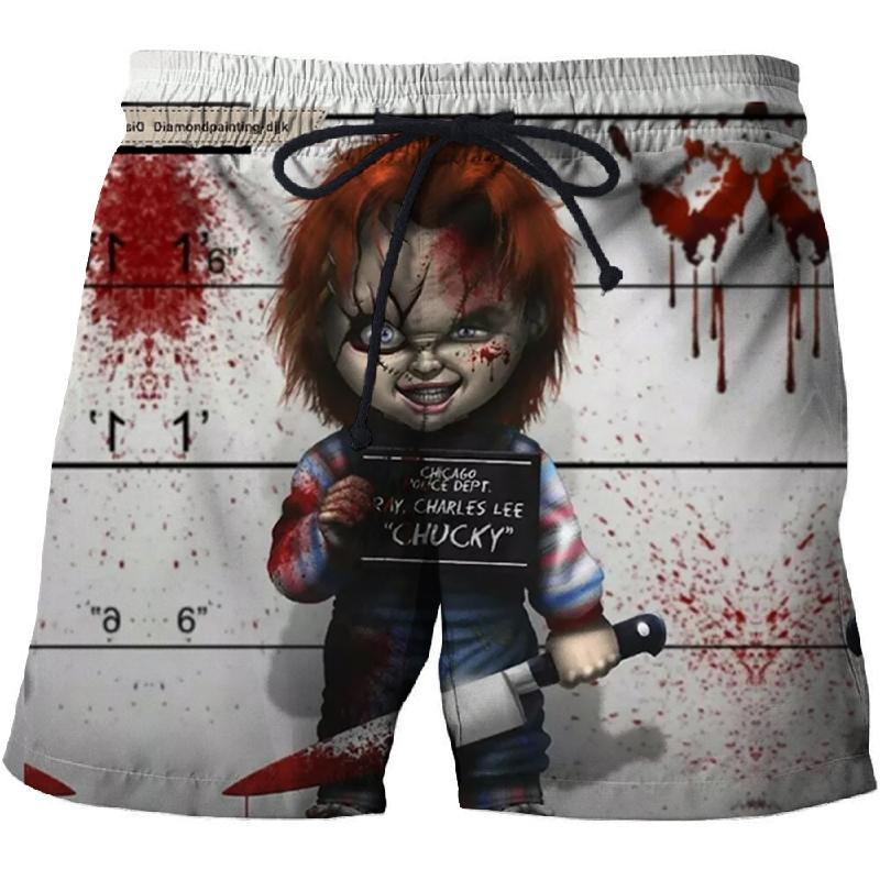 Punk Wind Clown Printing Men's Beach Shorts Fitness Quick-drying Swim Trunks Street Funny Fun 3D Shorts Factory Direct Sales
