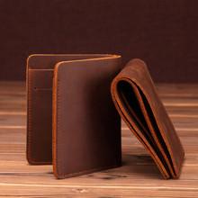 Małe męskie portfele Rfid oryginalne męskie portfele skórzane oryginalne skórzane prawdziwe wrony brązowe na pieniądze na karty designerska torebka Handmade Fashion tanie tanio Prawdziwej skóry Skóra bydlęca Nie zamek Wnętrze slot kieszeń Wnętrza przedziału Uwaga przedziału Posiadacz karty