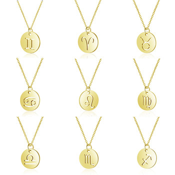 Rinhoo 12 horoskop znak zodiaku złoty wisiorek naszyjnik baran Leo Charm łańcuszek do obojczyka 12 konstelacji biżuteria świąteczne prezenty