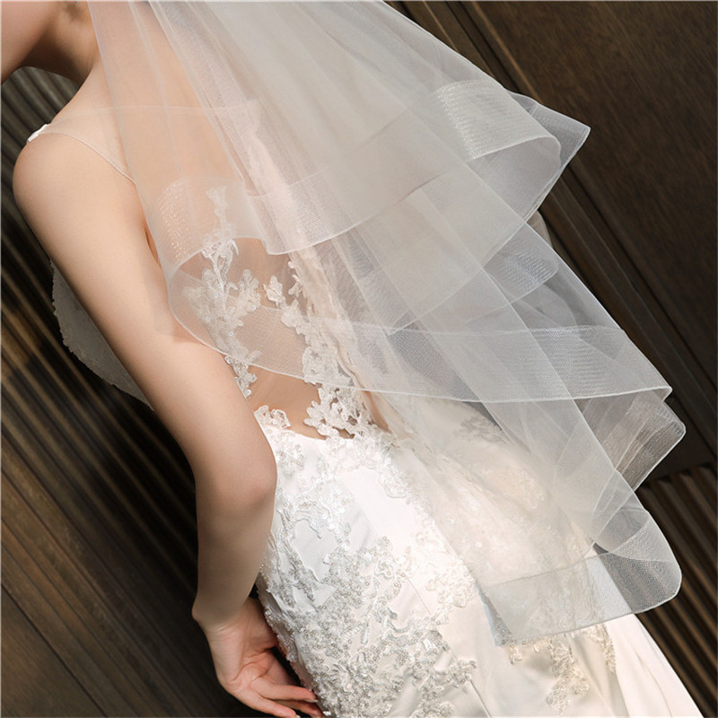 Two Layers Soft Tulle Short Bridal Veils With Comb Simple Bride's Wedding Veil Spring Face Veil Head Accessories