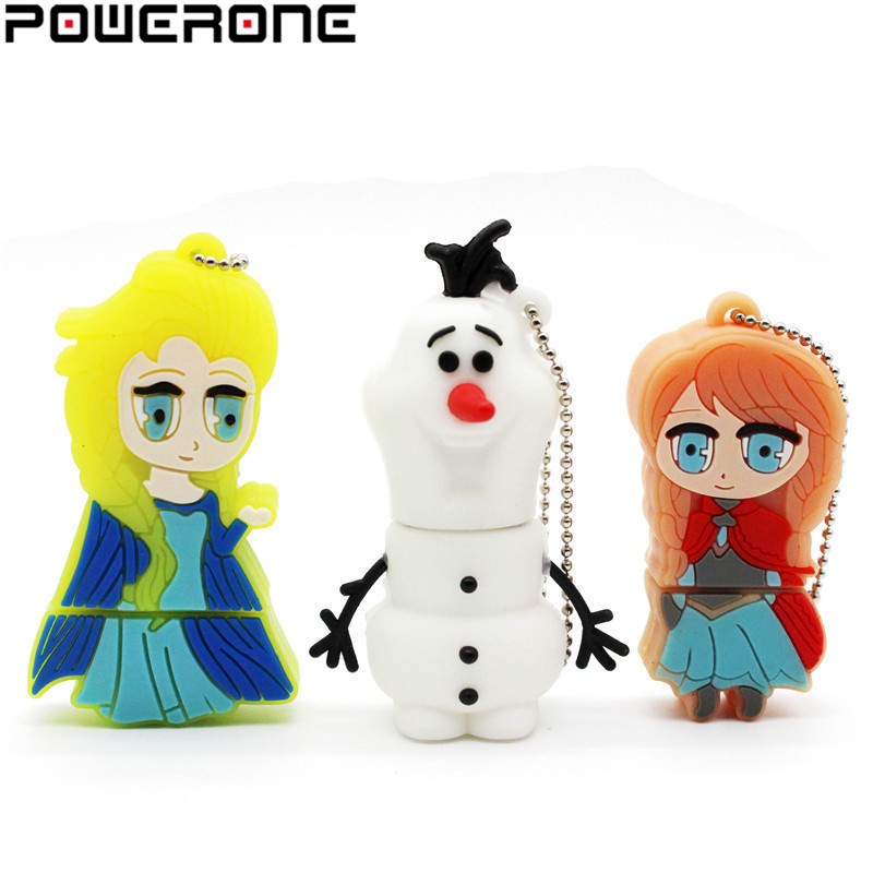 POWERONE Frozen Elsa Anna Olaf USB Flash Drive Pen Drive Cartoon Memory Stick Pendrive 4gb 8gb 16gb 32gb 64gb U Disk