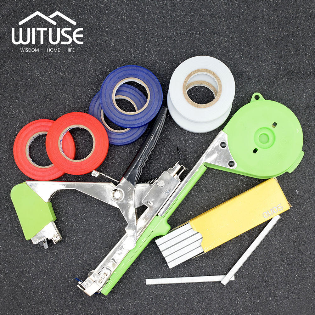 Labor Saving Fruit Vegetable Branch Vine Stem Tying Binding Machine Tape Tied Tool Plant Nursery Tapes+Staples Garden Supply