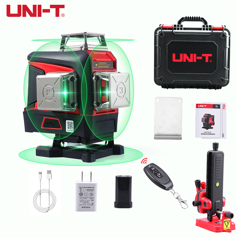 UNI-T 16 линий 4D зеленый лазерный уровень с треножным штативом зеленый горизонтальный и вертикальный Крест линии с функцией автоматического с...