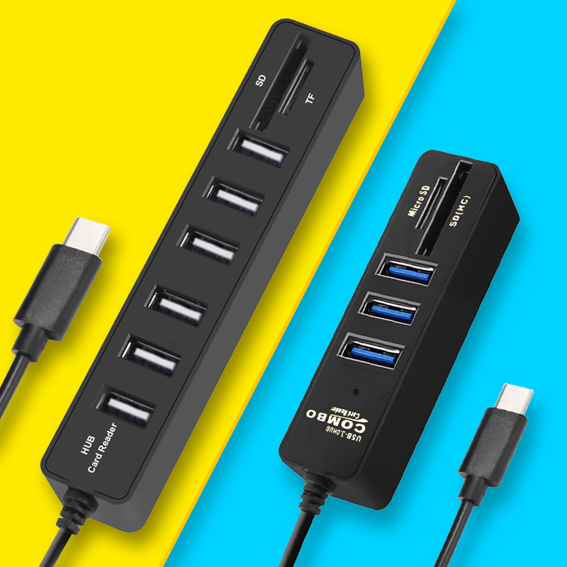 Muiti USB Hub 3.0 USB C Hub USB Splitter 3.0 Type C Hub 3 Port USB-C Hab With SD Card Reader All In One For Computer Laptop Dock