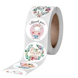 500pcs Cute Animal Thank you Stickers Rabbit elephant Gift Decoration Seal labels Kids Reward Diary Scrapbook Stationery Sticker