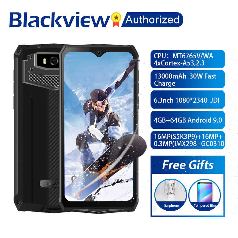 "Blackview BV9100 Android 9.0 téléphone 6.3 ""écran Smartphone IP68 robuste MT6765 Octa Core 4GB + 64GB 13000mAh batterie 30W Charge rapide"