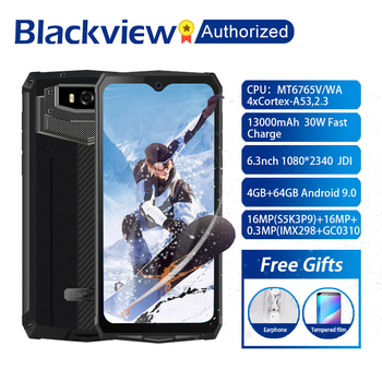 """Blackview BV9100 Android 9.0 Phone 6.3"""" Screen Smartphone IP68 Rugged MT6765 Octa Core 4GB+64GB 13000mAh Battery 30W Fast Charge"""