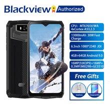 البلاكفيو BV9100 هاتف أندرويد 9.0 بشاشة 6.3 بوصة هاتف ذكي IP68 متين MT6765 ثماني النواة 4GB + 64GB 13000mAh بطارية 30 واط شحن سريع