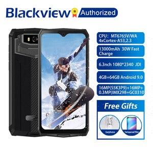 Image 1 - البلاكفيو BV9100 هاتف أندرويد 9.0 بشاشة 6.3 بوصة هاتف ذكي IP68 متين MT6765 ثماني النواة 4GB + 64GB 13000mAh بطارية 30 واط شحن سريع