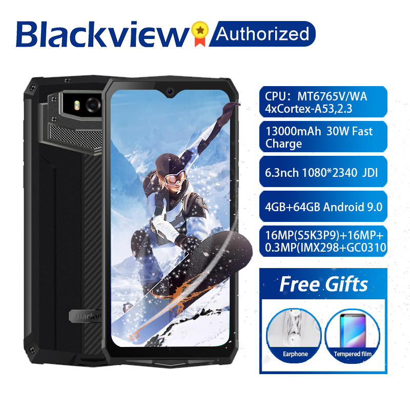Blackview BV9100 Android 9.0 Phone 6.3 Screen Smartphone IP68 Rugged MT6765 Octa Core 4GB+64GB 13000mAh Battery 30W Fast Charge