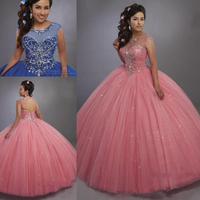 Bling Bling Quinceanera Dresses Illusion Scoop Neck Lace Up Back Crystals Blue Sweet 15 Dress Pageant Gowns Party Dress