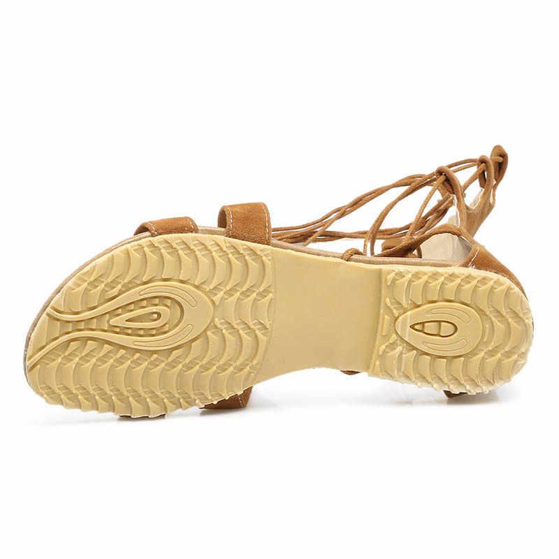 2020 nowy Boho stado sandały z odkrytymi palcami kobiety dorywczo wiązane buty dziewczyna płaskie plażowe letnie buty Plus rozmiar 48 Sandalia Feminina