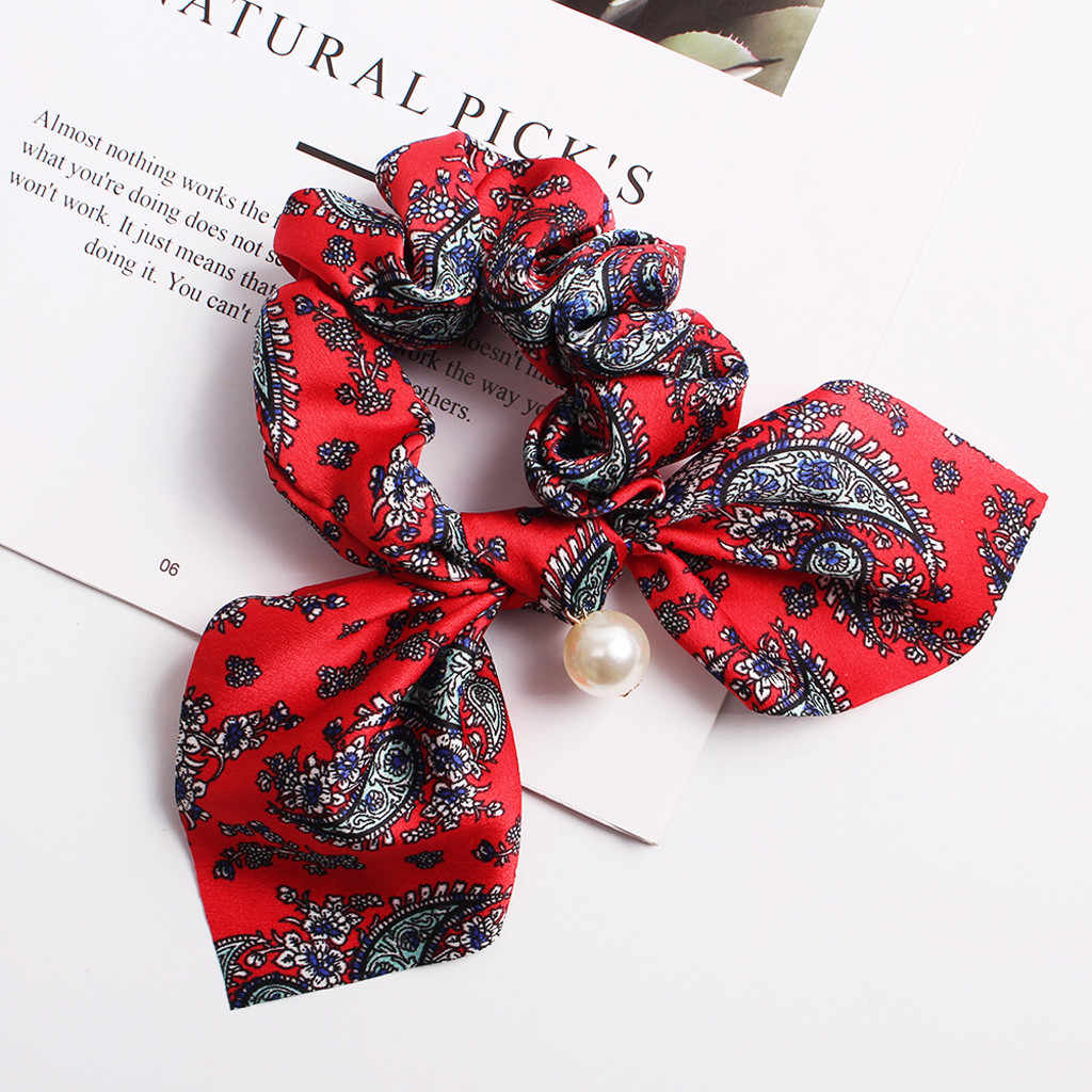 2019 New Fashion Fabric Hairband  Women Pearl Ponytail Holder Hair Tie Girls Hair Rope Rubber Bands Hair Accessories YC
