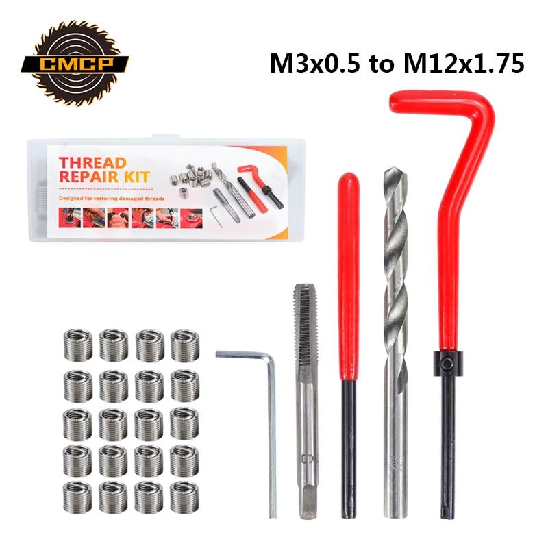 CMCP Car Thread Repair Kit M3 M4 M5 M6 M8 M10 M12 Metric Thread Repair Kit For Restoring Damaged Threads Coil Drill Tool
