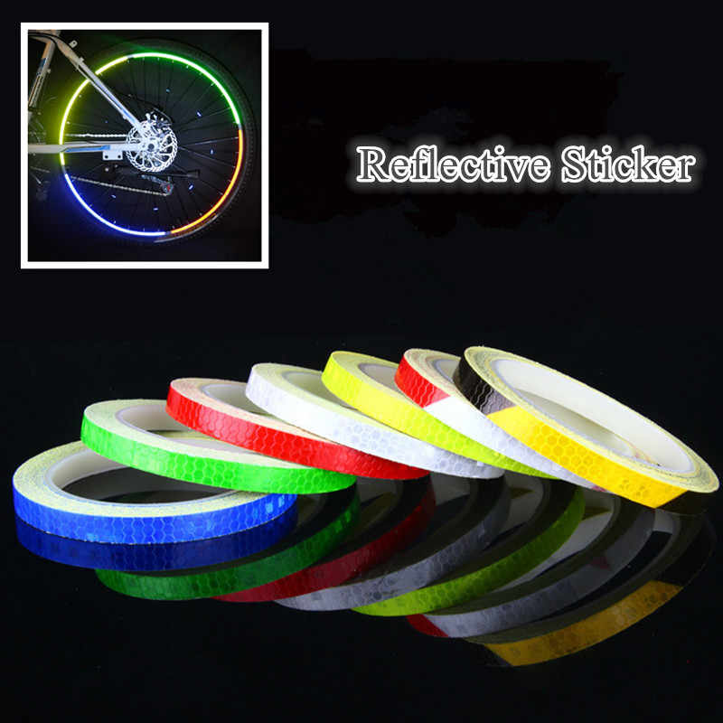 8M/Roll Bicycle Reflector Fluorescent MTB Bike Bicycle Sticker Cycling Wheel Rim Reflective Stickers Decal Accessories