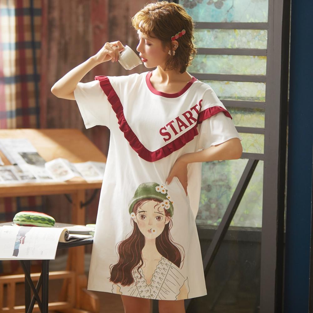 Image 3 - 2020 Summer Night Dress Women Plus Size Nightgown Cartoon Print Sleepshirts Short sleeves Nightie Nightdress Cotton SleepwearNightgowns & Sleepshirts   -