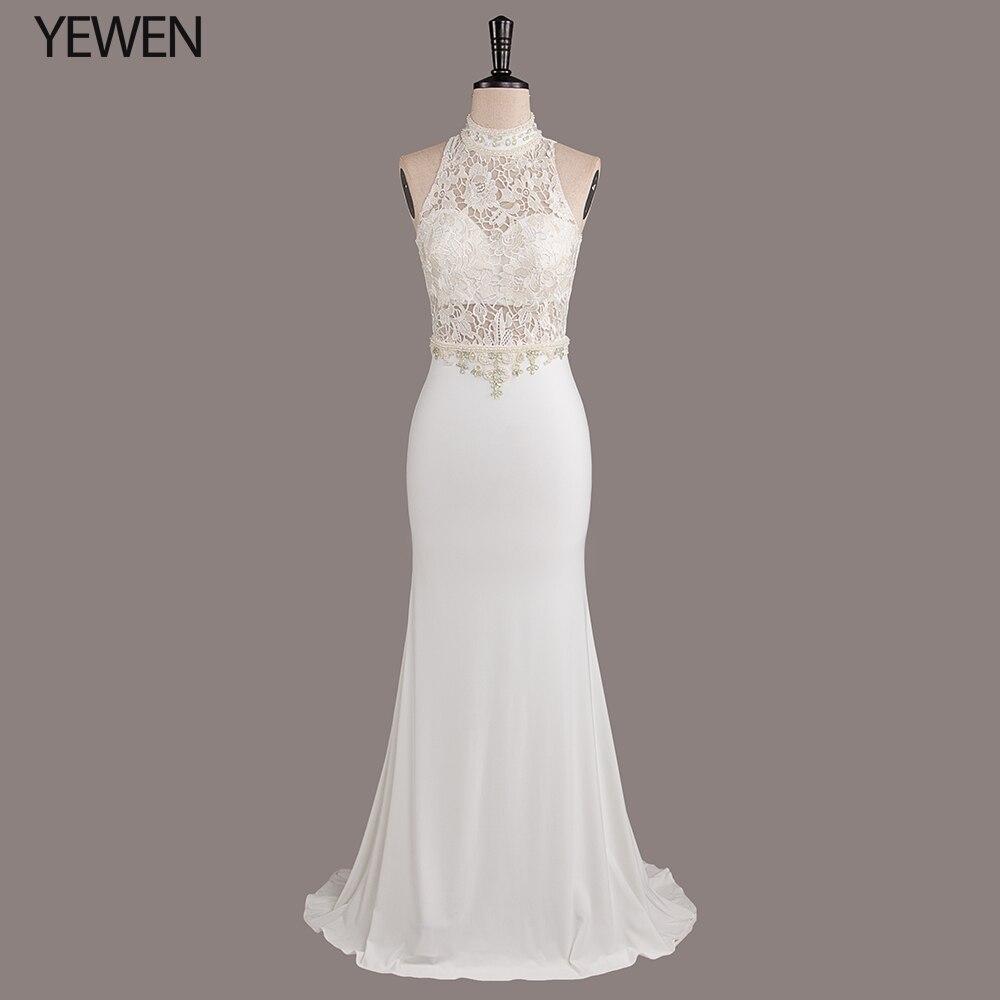 Элегантное свадебное платье русалки, длинное, 2019, без рукавов, с бретелькой через шею, кружевное, с вышивкой, иллюзия, официальное, свадебное