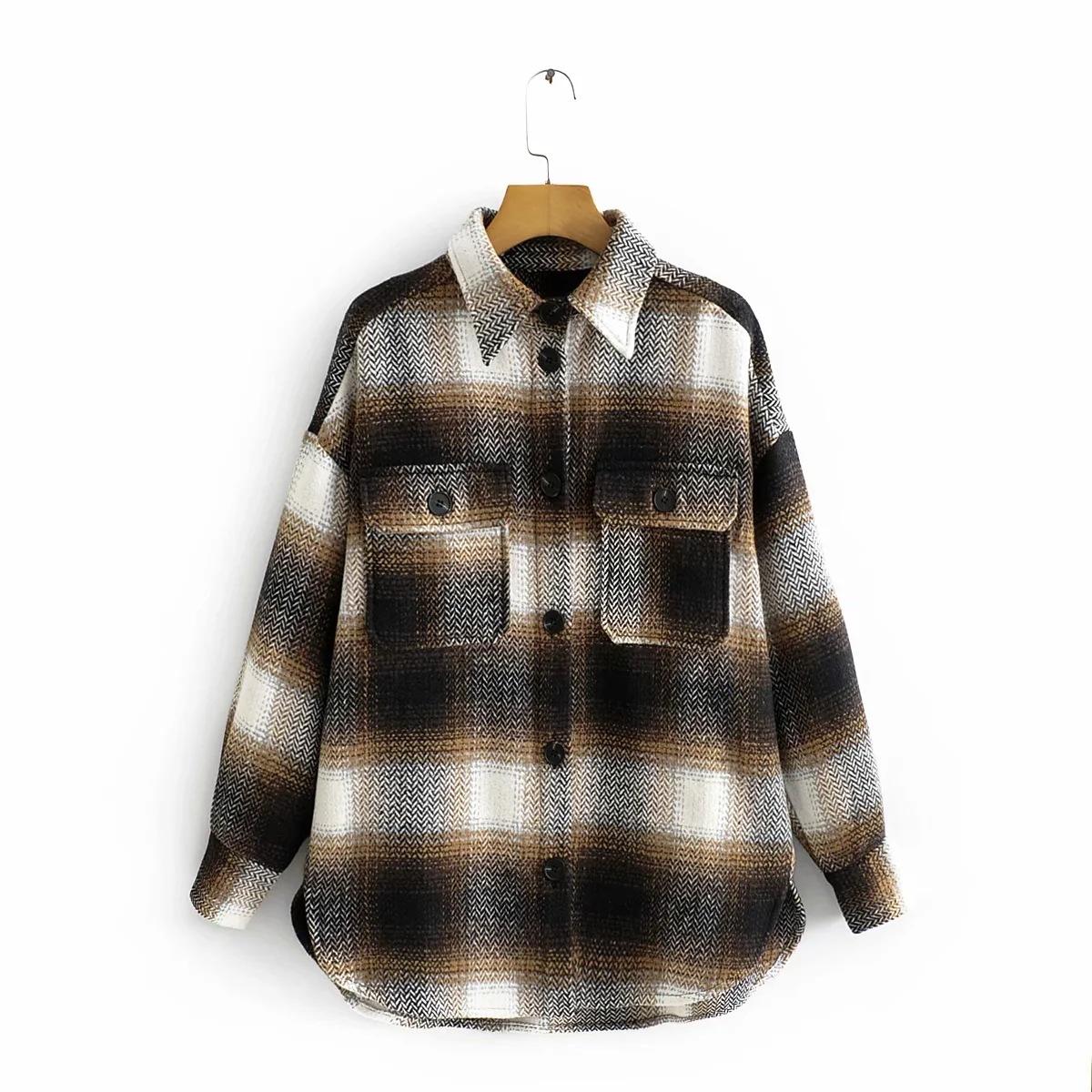 Gypsylady Толстая винтажная клетчатая куртка Свободная рубашка