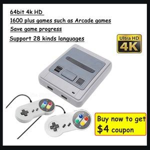 Image 1 - 4K 64bit HD dla Arcade Mini konsola do gier TV wideo Retro wbudowana 1600 Plus gry przenośna konsola do gier zapisz postęp gry prezent