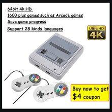 4K 64bit HD ل ممر تلفزيون صغير لعبة فيديو وحدة التحكم الرجعية المدمج في 1600 زائد ألعاب يده لاعب الألعاب حفظ لعبة التقدم هدية