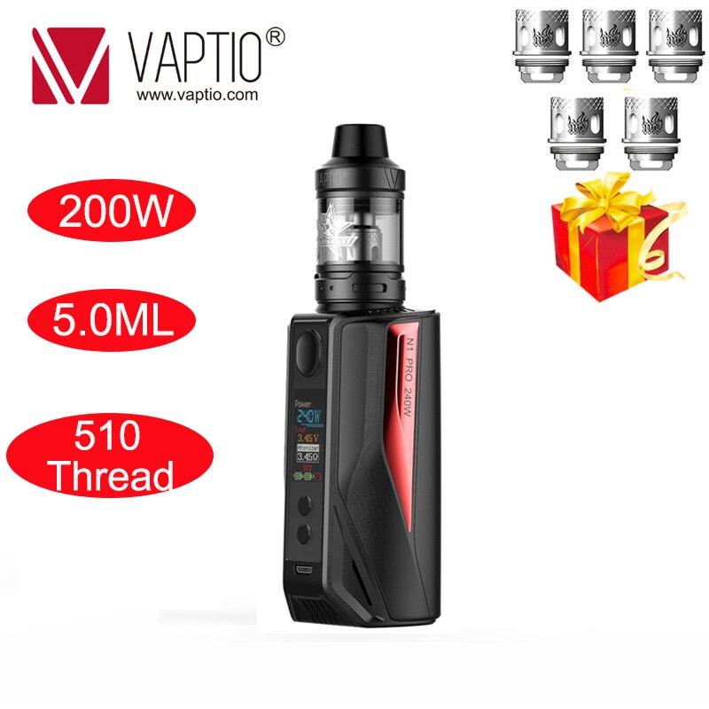 Cadeau 5 pièces bobines Cigarette électronique vape kit mod 200W Vaptio N1 Pro Lite KIT 5.0ml atomiseur 510 convient 2*18650 batterie Vape mod