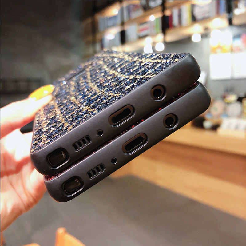 Brillante lentejuelas brillo Bling Glitter caso de teléfono para Samsung Galaxy Nota 9 J3 J4 J5 J6 J7 J8 Plus 2016, 2017, 2018, 2019 J310 J730 de vuelta