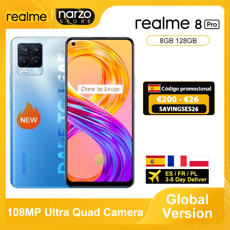 В наличии глобальная версия Realme 8 Pro смартфон 8 ГБ 128 6,4 ''Экран 108MP ультра Quad Камера Snapdragon 720G 4500 мА/ч, 50 Вт NFC