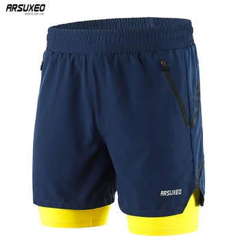 ARSUXEO Men's 7 Running Shorts 2 in 1 Quick Dry Athletic Training Exercise Jogging Sports Gym Shorts With Zipper Pocket  B191 arsuxeo 2019 men's running shorts 2 in 1 quick dry sports shorts active training exercise jogging shorts breathable b202