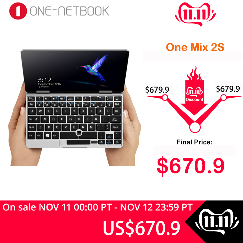 One Netbook One Mix 2S Pocket PC Intel Core M3-8100Y 7 Inch 1920*1200 IPS 8GB 256GB PCIE SSD Windows 10 WiFi USB 3.0 Notebook
