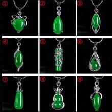Подвеска из натурального зеленого хотанского нефрита, 925 серебряное ожерелье, китайский амулет из жадеита, модные очаровательные подарочные украшения для женщин