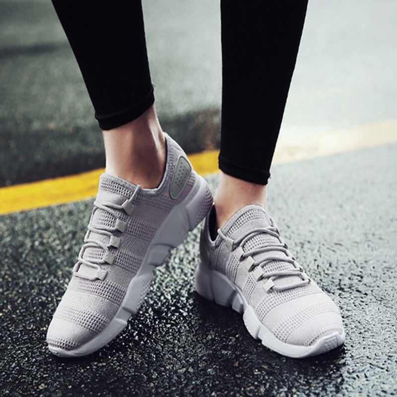 Laamei جديد الرجال أحذية رياضية تنفس عارضة عدم الانزلاق الرجال تفلكن الأحذية الذكور الهواء شبكة الدانتيل يصل ارتداء مقاومة أحذية تنيس masculino