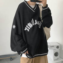 2021 inverno hip hop com decote em v carta impressão oversized hoodies moda feminina all-match oversized moletom masculino