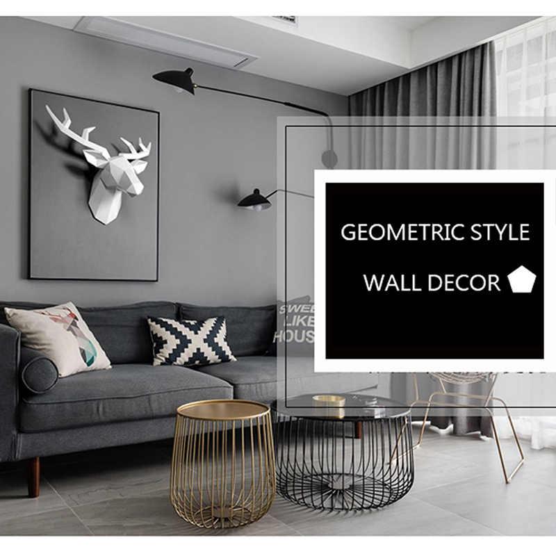 3D geyik kafası heykel oda duvar dekoru reçine geyik kafası heykeli ev dekorasyon aksesuarları geometrik soyut duvar dekorasyonu