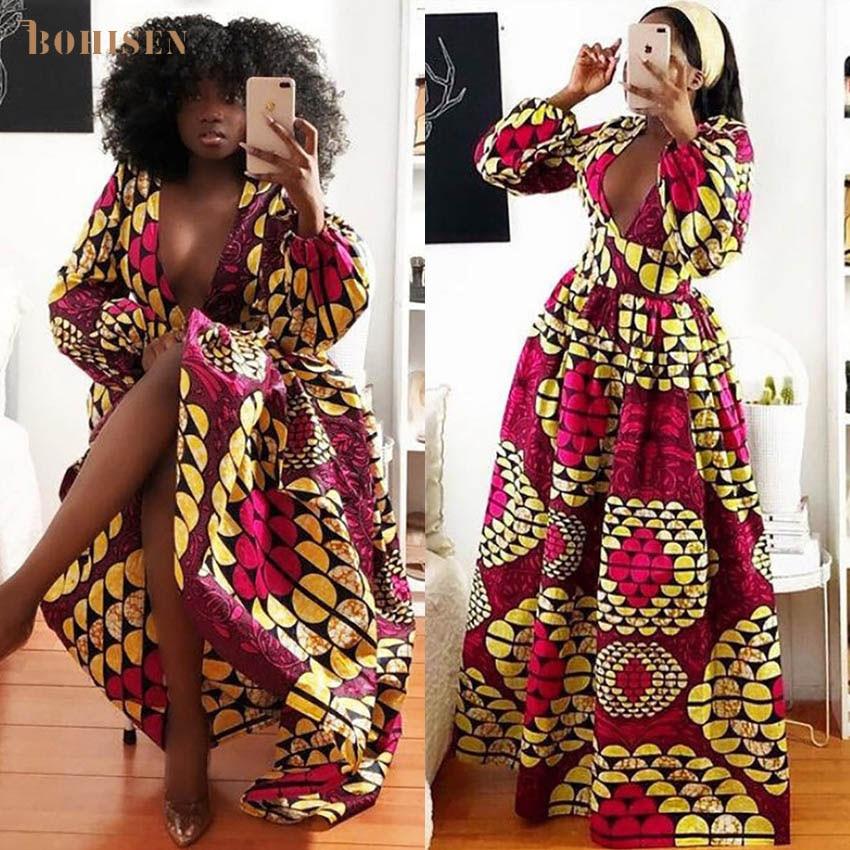 BOHISEN Dashiki Afrikanische Kleider Für Frauen Herbst Bazin Ankara Kleider Langarm Plus Größe Afriacn Drucken Kleidung Für Frauen