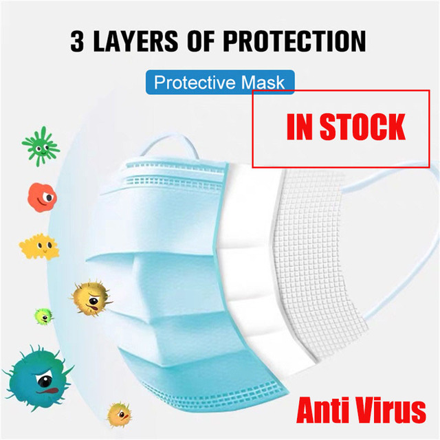 Face Mouth Anti Virus Mask Disposable Protect 3 Layers Filter Dustproof Earloop Non Woven Mouth Masks anti flu face masks
