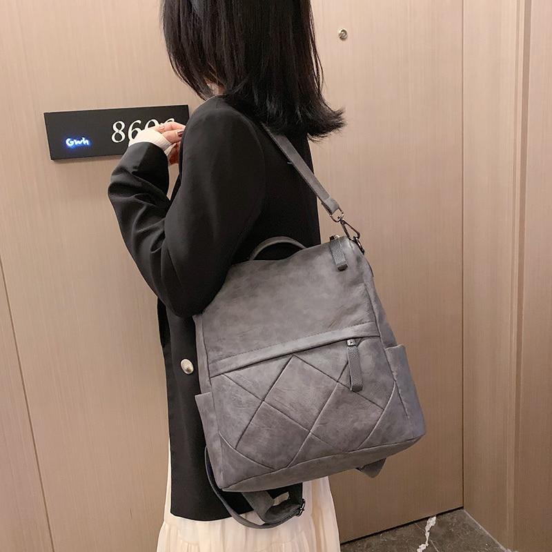 Image 5 - Fashion Women Backpack High Quality Soft Leather School Backpacks for girls Female Casual Large Capacity Vintage Shoulder BagsBackpacks   -