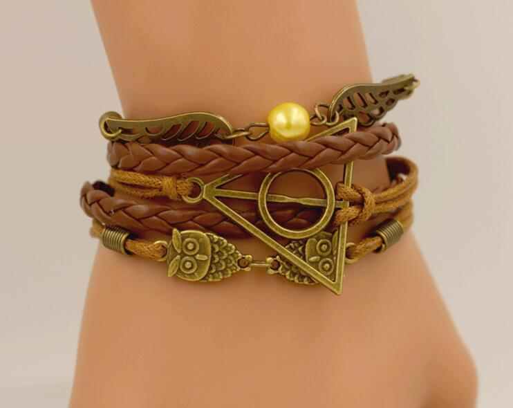 Anime Harried Death Hallows HP Action Figure Retro Leather Cord Bracelet Golden Snitch Wings Owl Triangle Multilayer Bracelet
