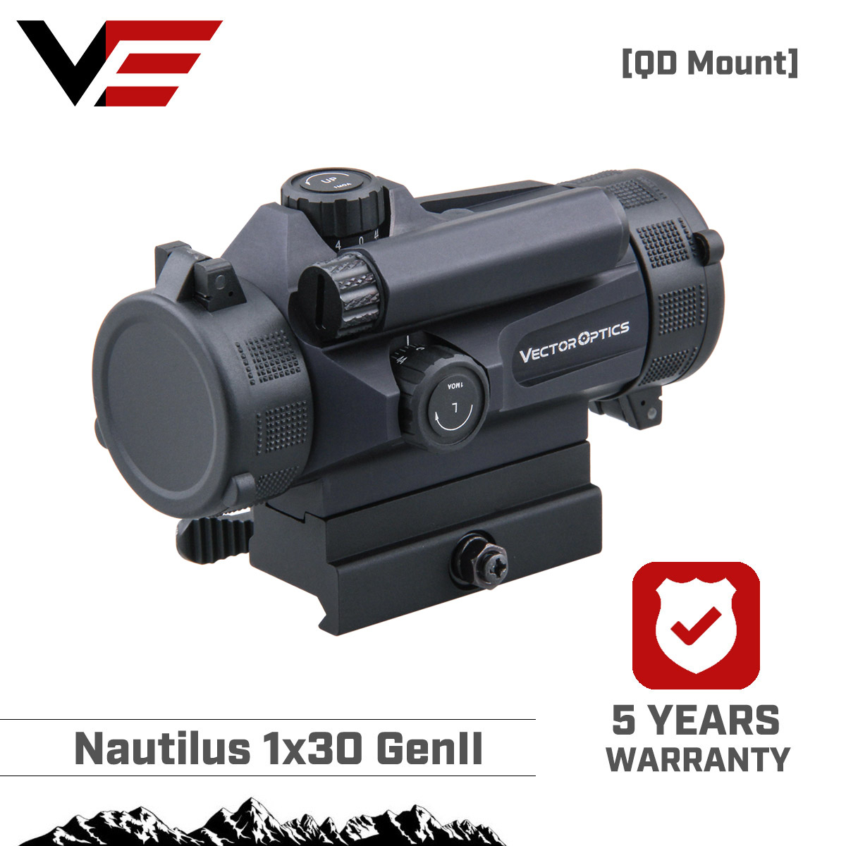 Vector Optics Nautilus 1x30 QD GenII Tactical Red Dot Sight Auto Light Sense 3MOA Dot Size Picatinny Quick Release Mount