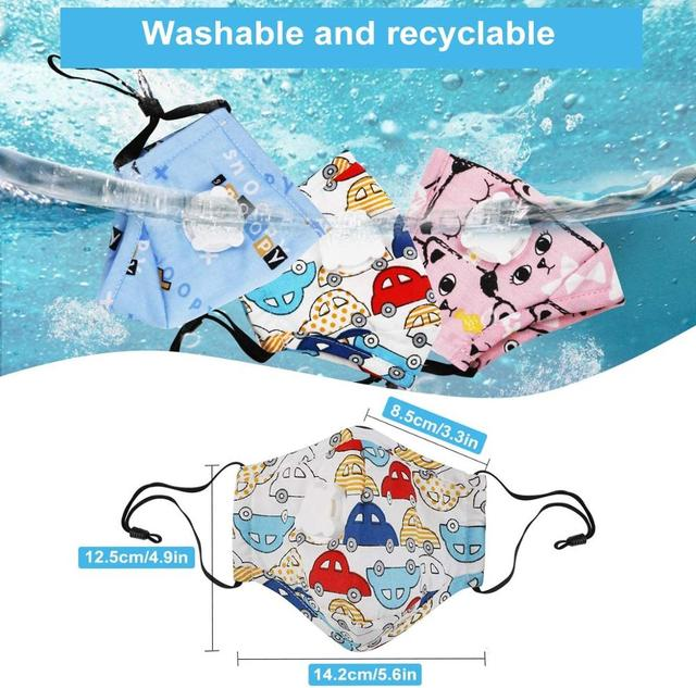 4-12 Years Children Face Mask with PM2.5 Filter Pad Boys/Girls Reusable Cotton Mask with Breathable Valve Kids Mask 2