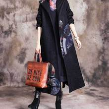 Женское зимнее шерстяное пальто с капюшоном, верхняя одежда, женское плотное длинное пальто, Дамское ретро лоскутное теплое пальто, верхнее пальто