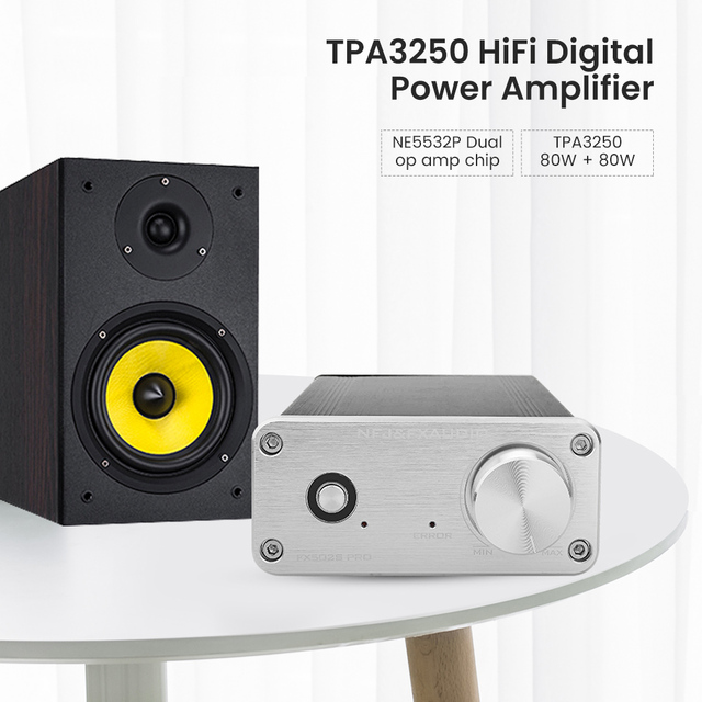 FX אודיו FX502S PRO אודיו דיגיטלי גבוהה כוח מגבר HIFI 2.0 סטריאו בית מקצועי Amp TPA3250 NE5532 80W * 2 מגברים