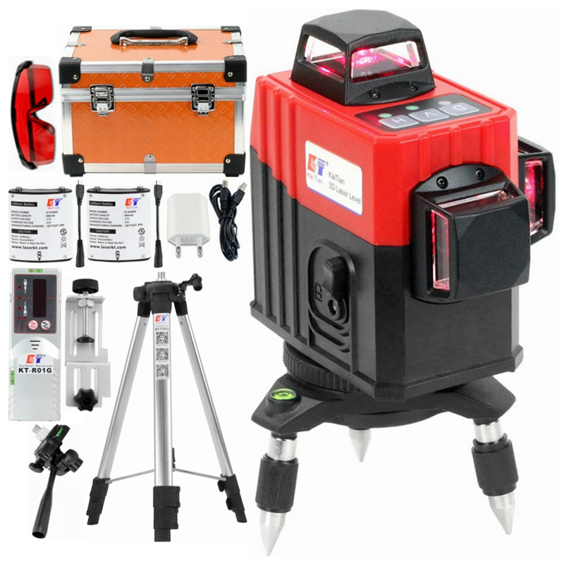 Kaitian Laser Level Tripod 3D 12 Lines Self-Leveling 360 Horizontal & Vertical Battery Powerful Outdoor Detector Red Line Lasers