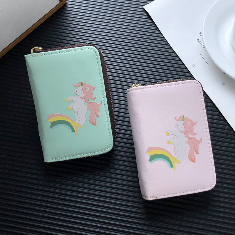 APP BLOG New Fashion Cute Rainbow Unicorn Women Card Holder Multifunction Female Credit ID Cards Wallet Case Cards Organizer Bag image