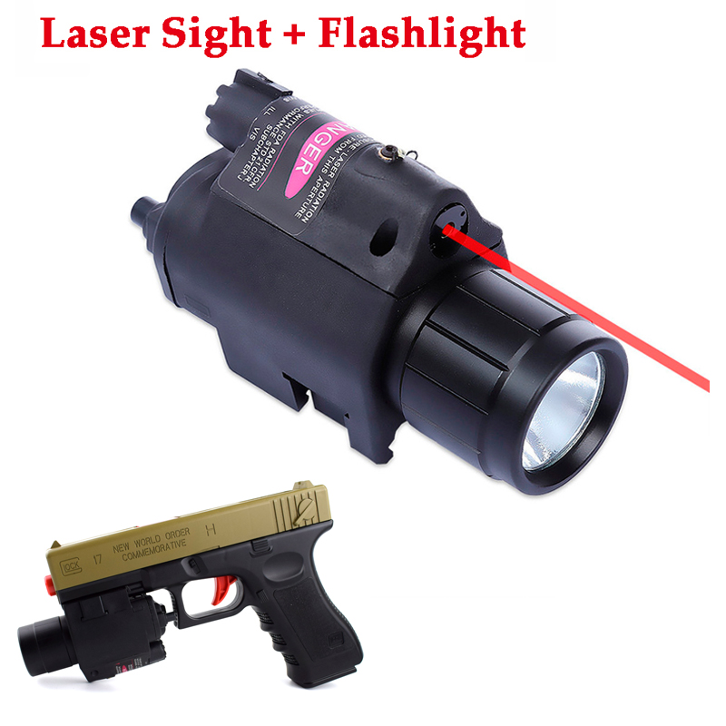 2 In 1 Tactical Red / Green Laser Sight and LED Torch 20mm Rail Pistol Gun Military Glock Optics Hunting Gear