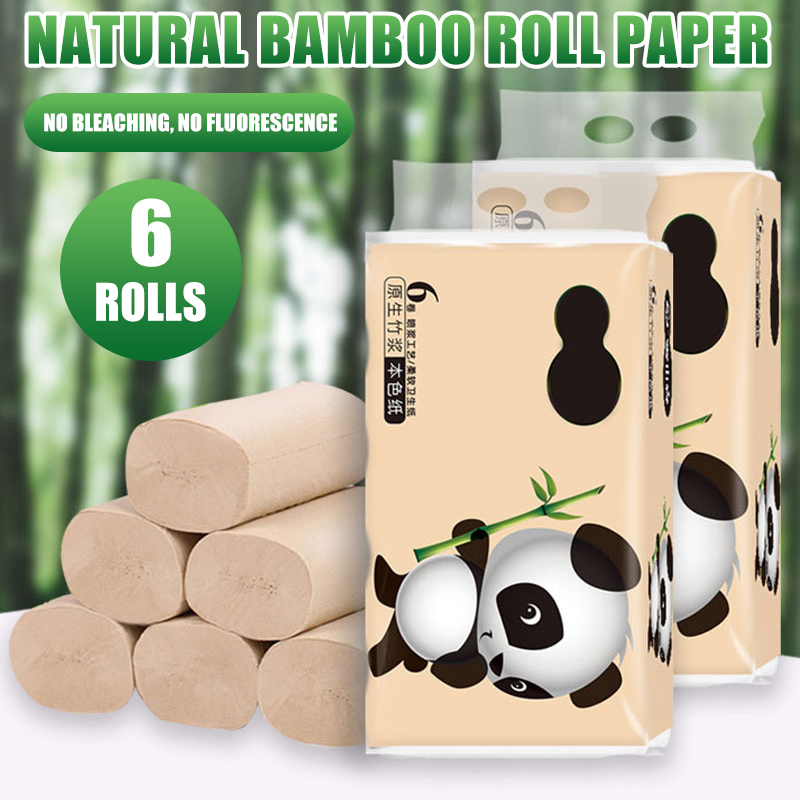 6 Rolls Toilet Paper Tissue 4 Layer Soft Skin-Friendly Safe For Bathroom Home New H9