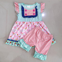 Summer kids clothes fastener lovely flamingo top matches str