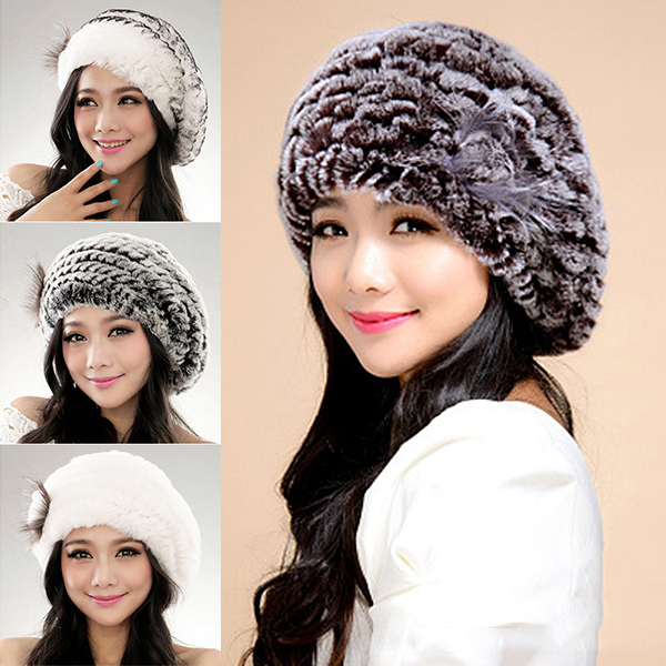Wholesale Winter Beret Faux Fur Hat Women Soft Warm Caps Knitted Accessory Comfortable Outdoor N66