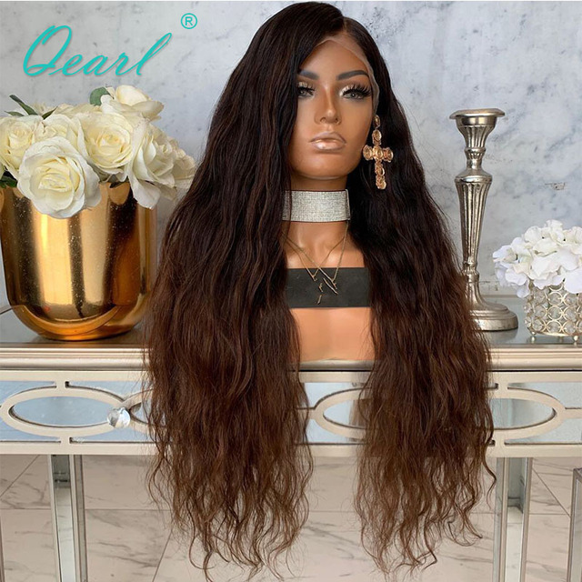Ombre 1b/33 Color 360 Lace Frontal Wig 180% 250% Density Peruvian Wavy Remy Hair 360 Lace Wigs Deep Long Side Parting Qearl