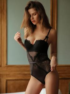 Image 1 - Sexy Hollow Out Lace Bustiers Corsets With Push Up Half Cup Bra  Underwear Mesh Transparent Bodysuit Women Lingerie