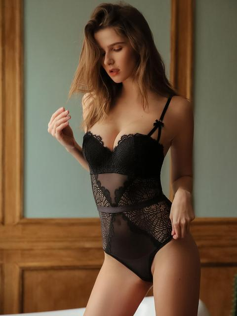 Sexy Hollow Out Lace Bustiers Corsets With Push Up Half Cup Bra  Underwear Mesh Transparent Bodysuit Women Lingerie
